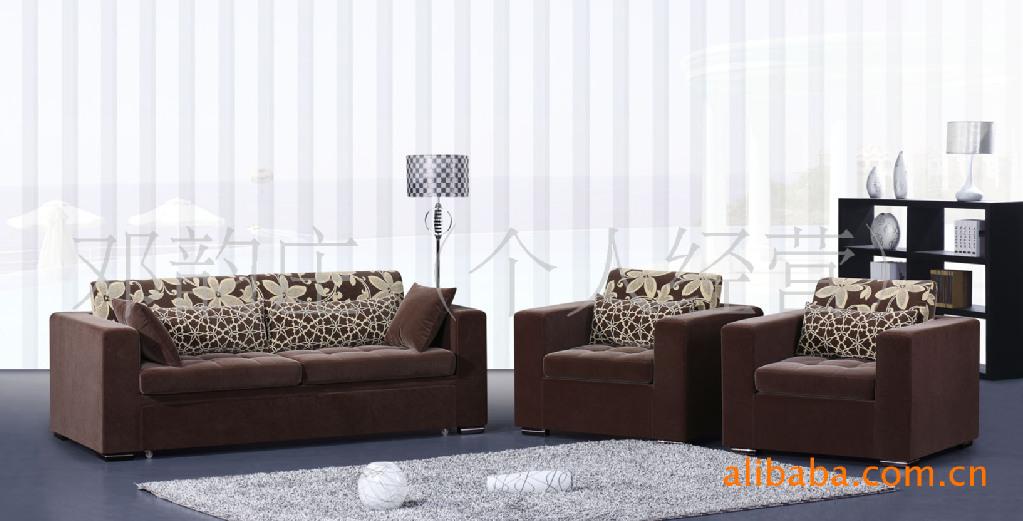 客厅沙发茶几组合 现代布艺沙发双人 木架布艺沙发 0912C图片,客厅