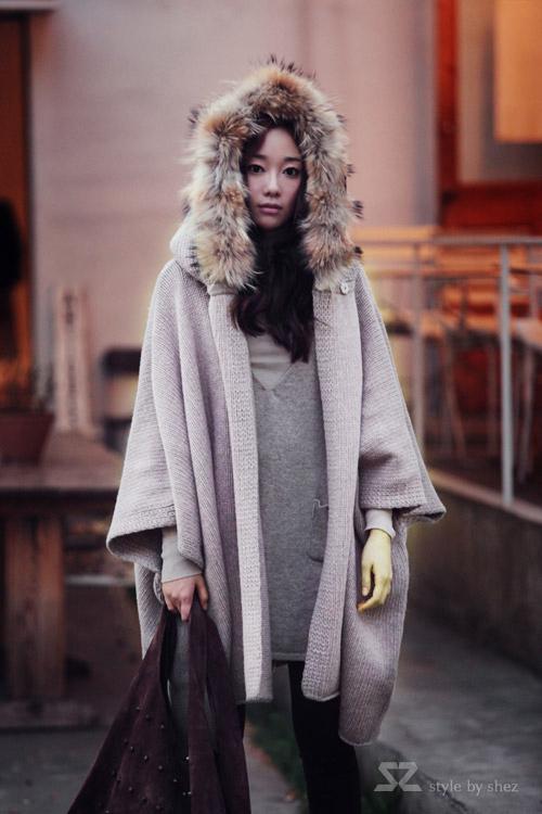伦怀旧斗篷羊毛大衣