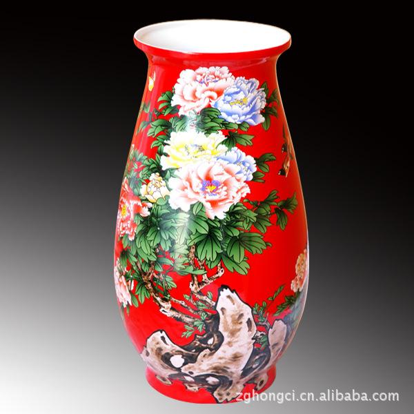 红瓷花瓶,官窑国瓷,中国红花瓶,长沙中国红花瓶批发采购 陶...