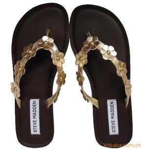 小额混批发外贸原单女式花朵金黄色平底夹趾人字拖凉拖凉鞋