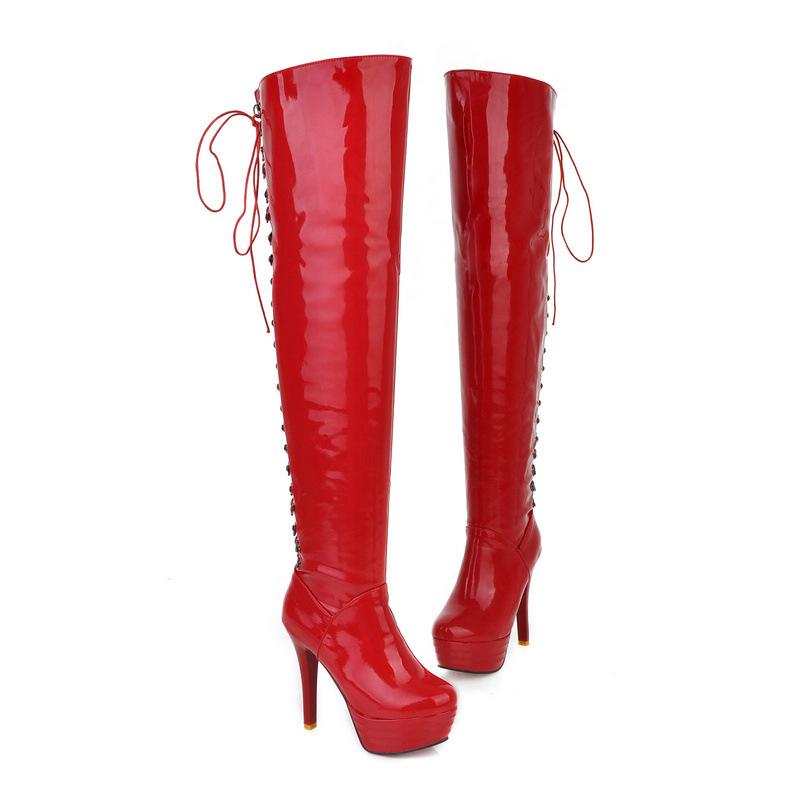 欧美时尚外贸靴子厂家直销新款漆皮过膝长靴女靴高跟批发诚招代理