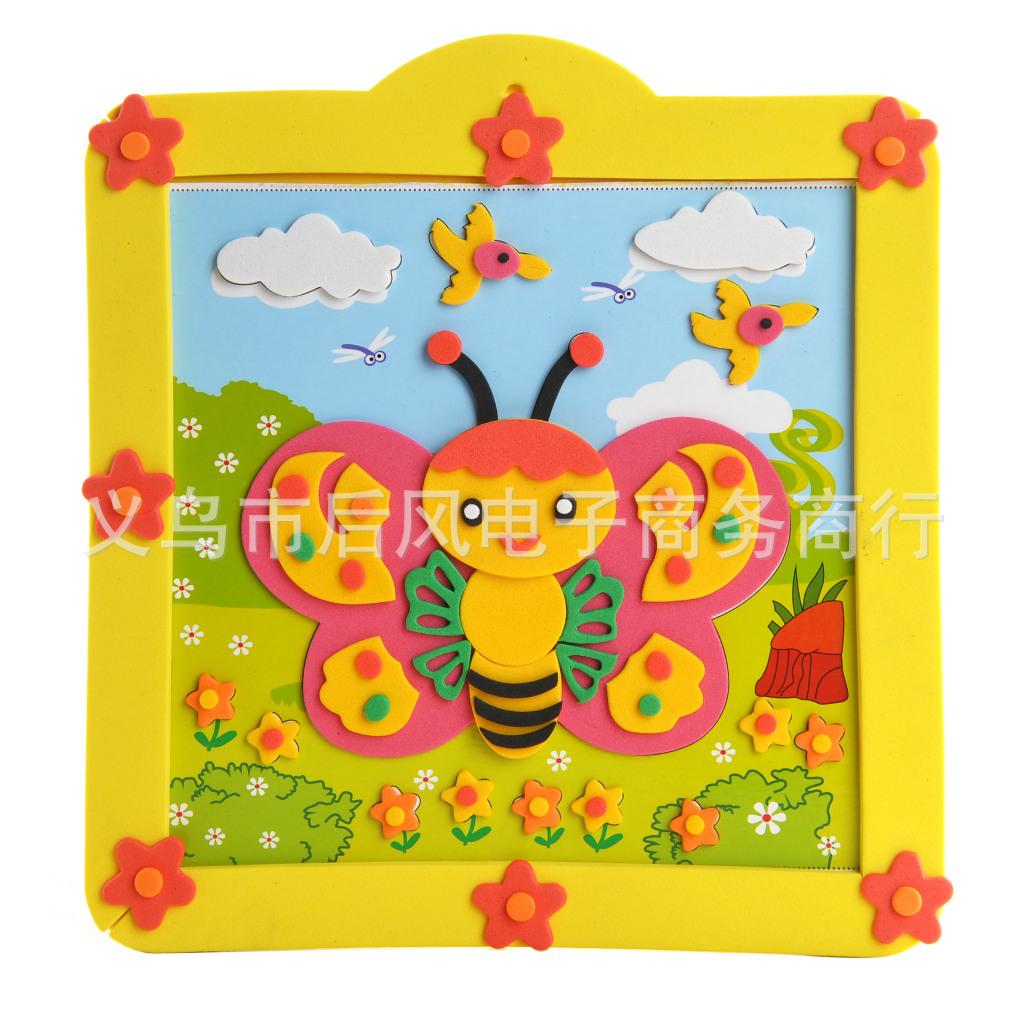 儿童益智玩具 立体粘贴画厂家批发图片,快乐童年DIY手工贴画 EVA