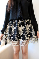Korean Style Beautiful Embroidery Black Apricot Crochet Ball Gown Print Mini Skirt Free Shipping N9253