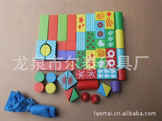 60粒彩色积木 木制彩色儿童积木 厂家直销60粒彩色儿童积木图片,60