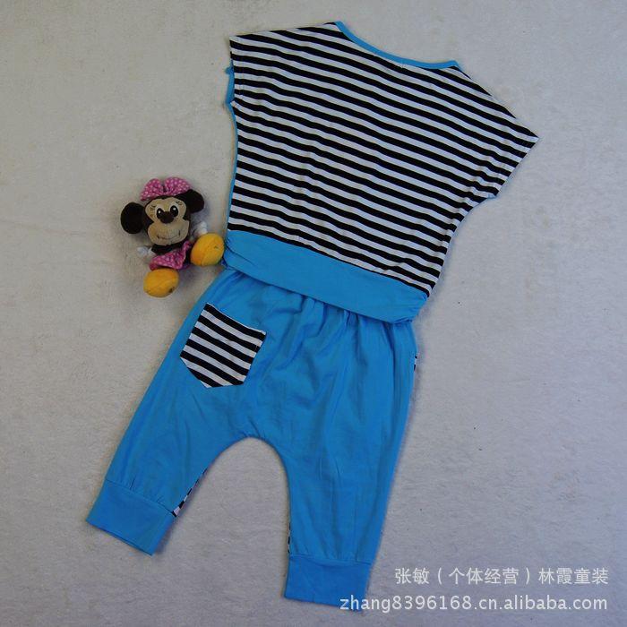 童装2012新款夏装淘气贝贝126133 女童韩版时尚短袖中裤套装 垮裤 -图片