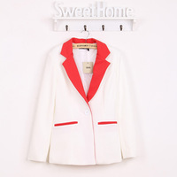 women's fashion OL outfit one button blazer, female casual slim suit, lady color block decoration blazer jacket