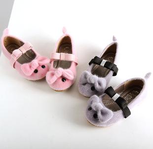 韩国童鞋批发 外贸可爱老鼠时尚女童鞋 蝴蝶结牛筋底毛毛儿童鞋