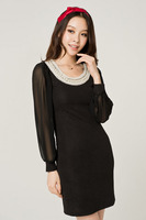 2012 plus size clothing mm summer limited edition pearl slim hip chiffon long-sleeve dress