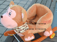 Child rocking horse chair trojan wooden wool plastic toy brown monkey band music
