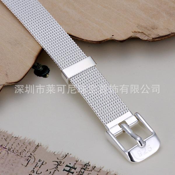...销新款925银饰幸福情侣小网表带手链日韩流行时尚饰品H237