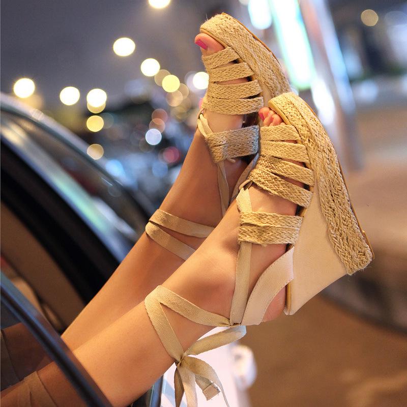 22-1新款凉鞋2012夏季艺术鱼嘴坡跟罗马鞋防茶盘石雕女鞋图片