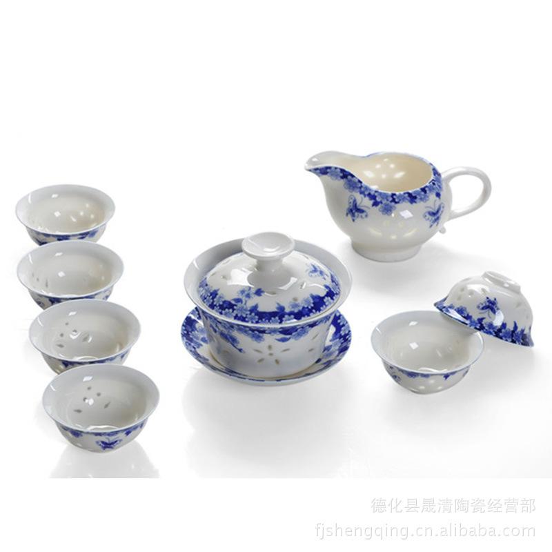 供应定制青花瓷茶具景德镇玲珑茶具套装陶瓷镂空功夫茶具铁观音茶