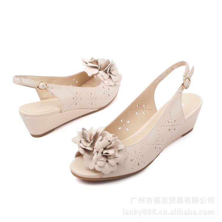 花朵羊皮2012夏女鞋镂空品牌坡跟鱼嘴秋鞋女plc下载线图片