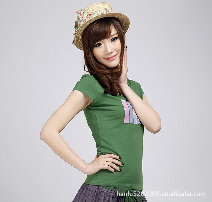 圣迪奥2012 女装夏装撞色图案logo短袖T恤0280108 专柜正品同款图