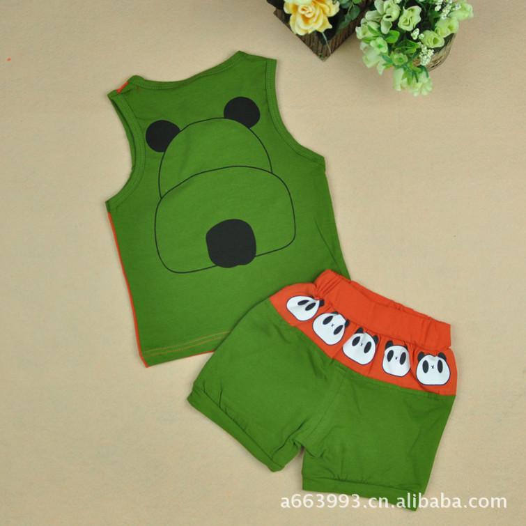 超人贝贝 2012夏季新款童装 韩版套装 男小童小熊背心套装 -价图片