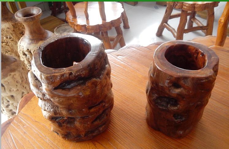 山东工艺品 山东原生态枣木工艺品根雕枣木花架笔筒花瓶可定制加工