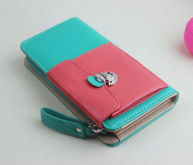 钱包/【爆款】撞色小口袋拉链手拿钱包手拎糖果色PU皮女式长款钱包