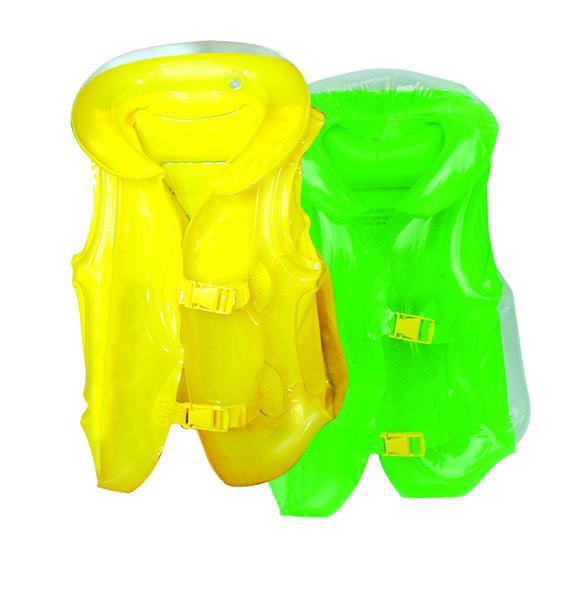 【专业定制】加厚PVC充气救生衣 带插扣三气囊设计可印刷图