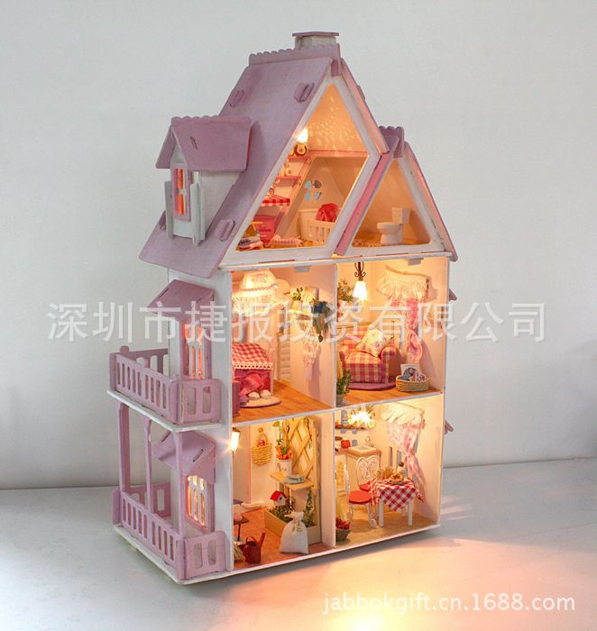 DIY Alice Small House Wood Dollhouse Kit All Furniture