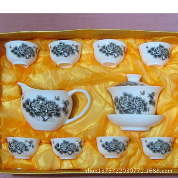 潮州功夫茶具,手绘白瓷茶道具,陶瓷茶具套装,高档中式茶具