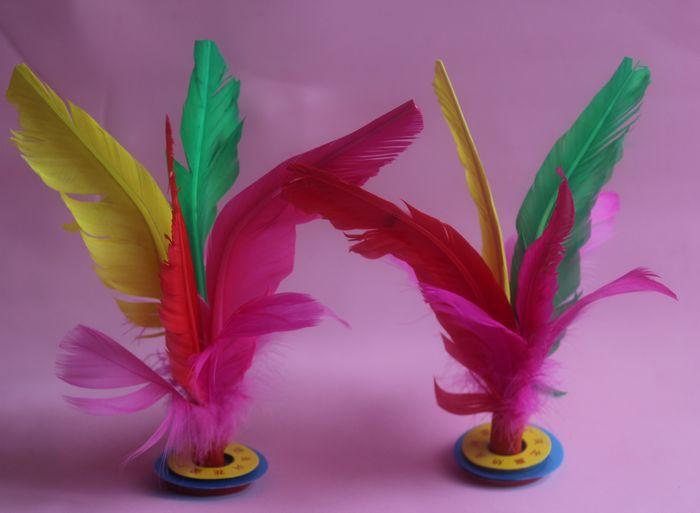直销鹅毛毽子 比赛指定专用大花毽子 耐踢毽球 羽毛毽 彩色键子