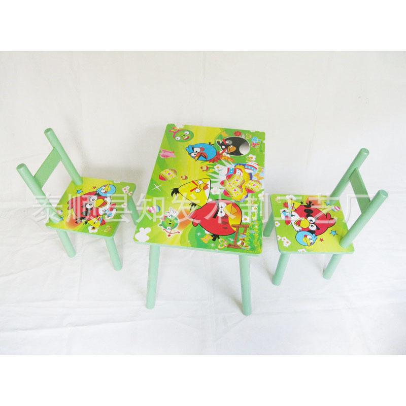 学习桌椅 实木幼儿园游戏画画写字桌椅家具图片,批发愤怒鸟卡通