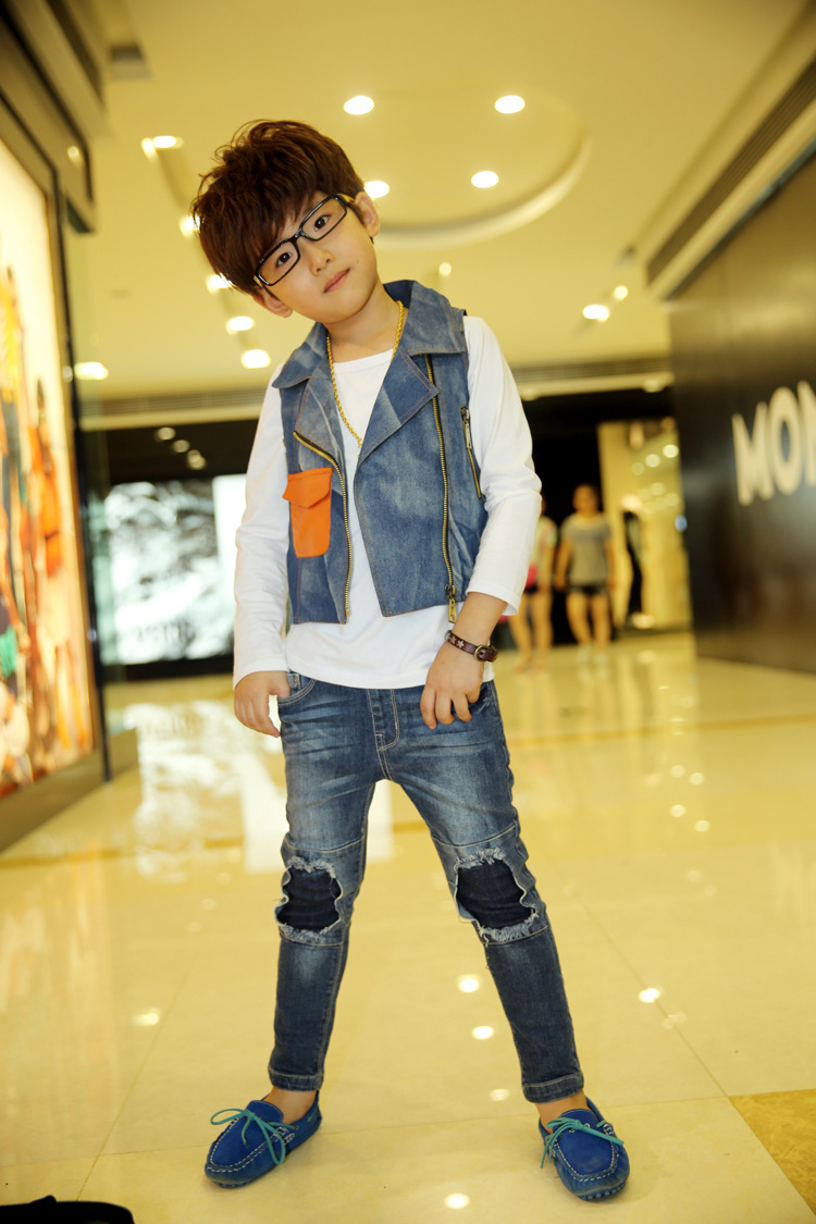 童马甲 背心 韩版男童秋季新款儿童童装男童牛仔西装领马甲背心休闲图片