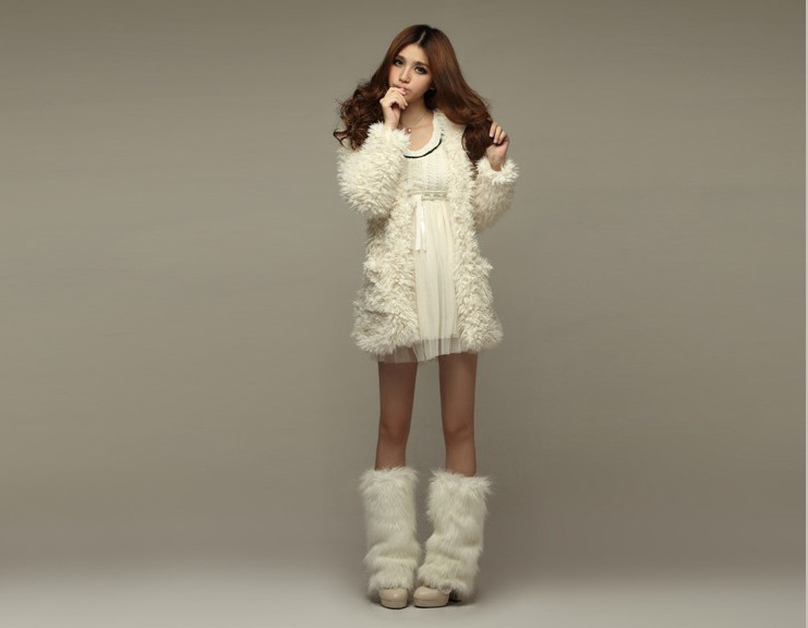 Sweet Casual Fuzzy Pure Color Bear Ear Hooded Princess Overcoat