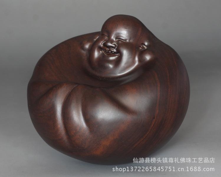 批发采购木质工艺品 黑檀木摇钱佛 黑檀弥勒佛10cm不倒翁工艺品佛像