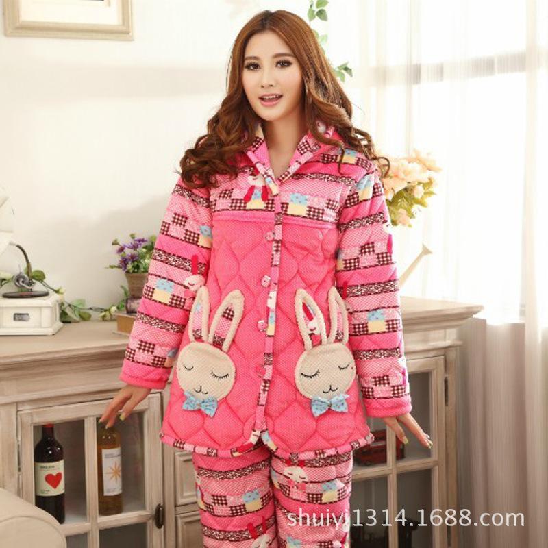 一件代发 冬天睡衣 女士珊瑚绒夹棉超柔睡衣 加