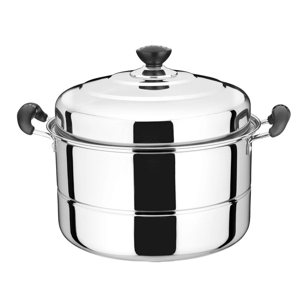 【厂家直销】不锈钢32cm双篦蒸锅多用锅厨房蒸锅带磁加厚加高