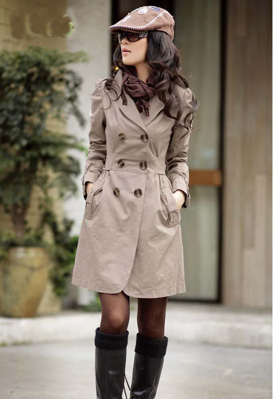 Slim Cotton Double-breasted Long Trench Coat