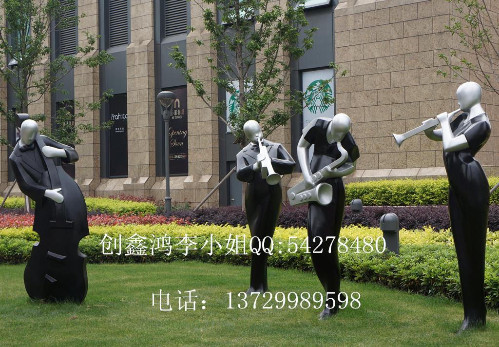 玻璃钢人物景观雕塑 抽象音乐人组合雕塑 现代主题商业雕塑 -价
