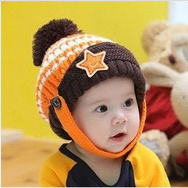 韩版冬季儿童宝宝笑脸五星贴标,毛线帽子,护耳纽扣冬帽