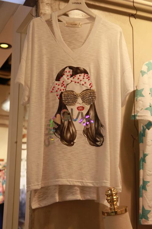 韩国正品代购 女装 宽松蝙蝠袖美女图案炫