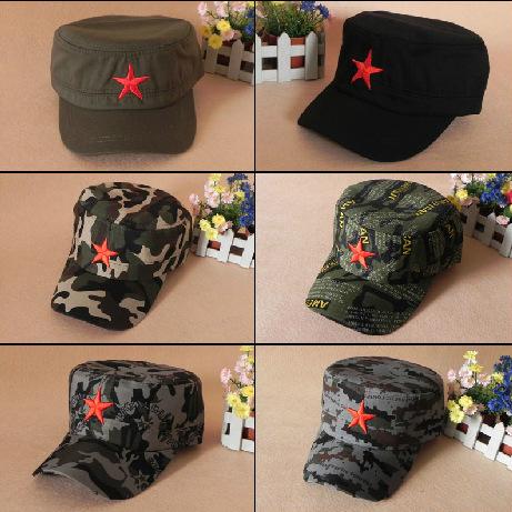 夏季户外迷彩帽 红军五角星帽 男士女士平顶帽 军帽 定制
