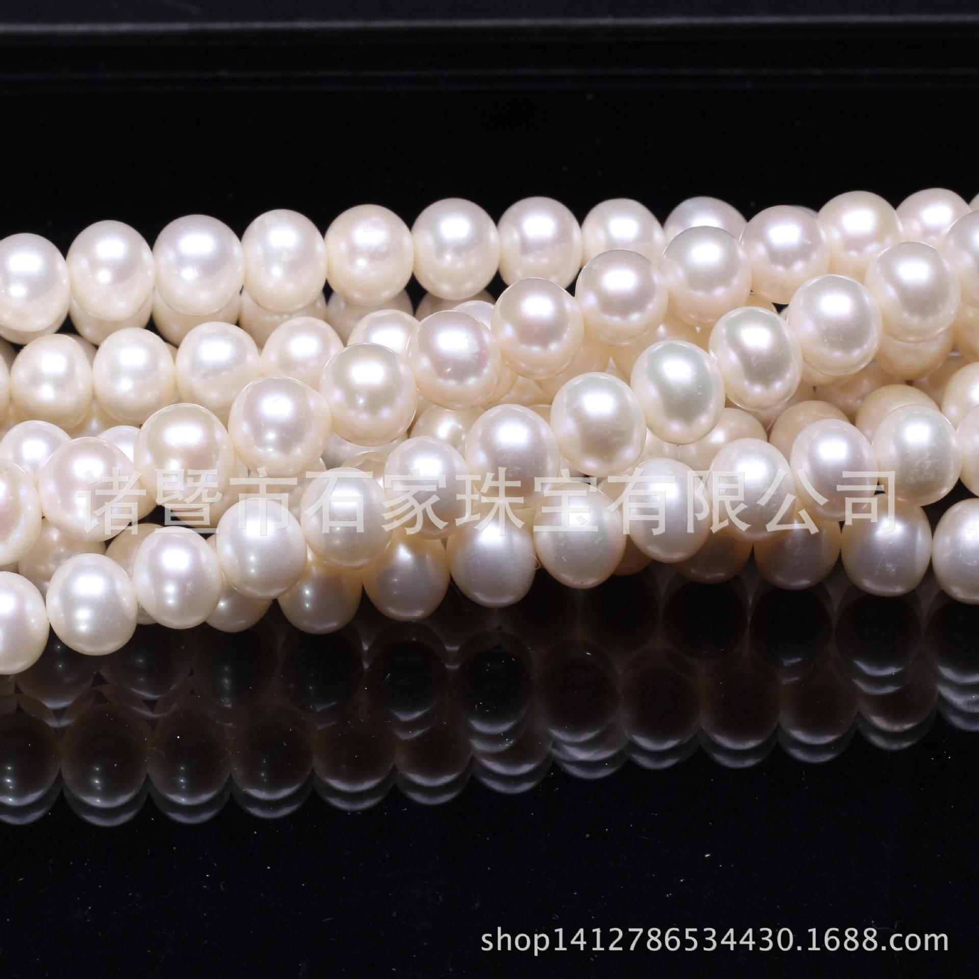 石家珠宝天然淡水珍珠11-12mm四面光 AAAA细小微瑕半成品珍珠项链