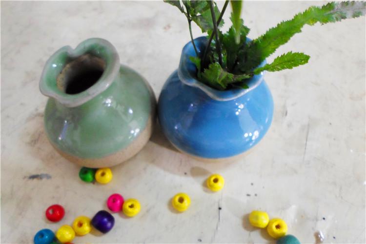 景德镇陶瓷 手工拉坯小花小草花插 陶瓷招财猫 矮花瓶 -价格,厂家,图片