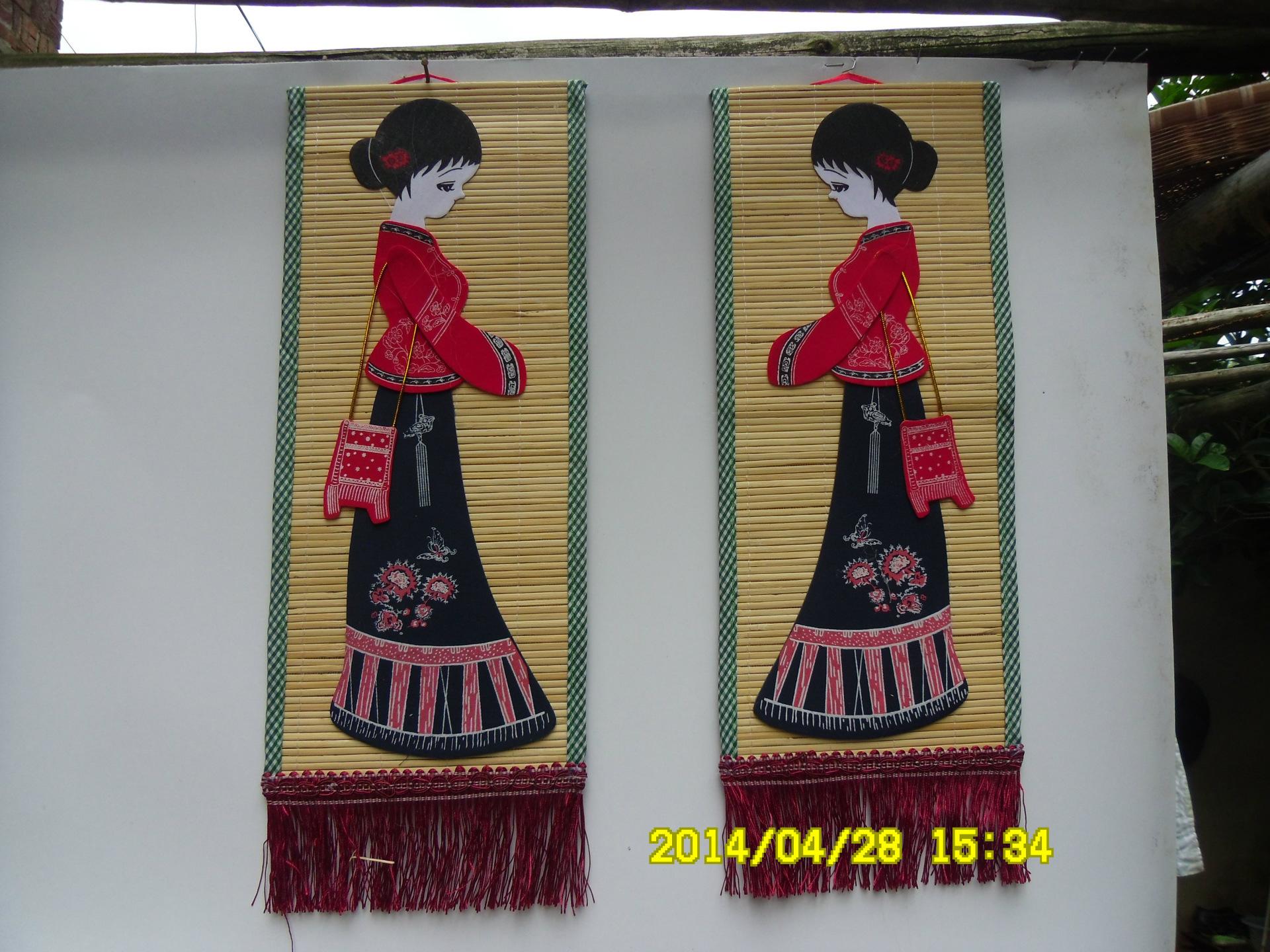 竹帘画 布贴画 挂画 少数民族工艺品,壁挂 -价格,厂家,图片,木质