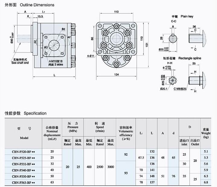 厂家直销液压齿轮泵CBN-F540,532,563中高压齿轮泵油泵厂家价格图片_3