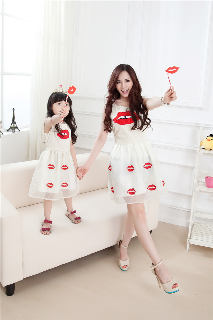 Matching Mother Daughter Clothes Lipstick Embroidery Chiffon Thin