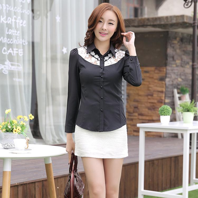 2015春季新款韩版大码女装衬衫翻领蕾丝拼接长袖打底衬衫