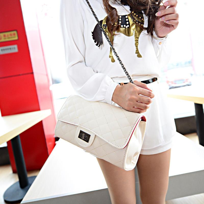 时尚休闲女包-2014新款韩版打底v女包衣长菱格加厚链条小包袖图片