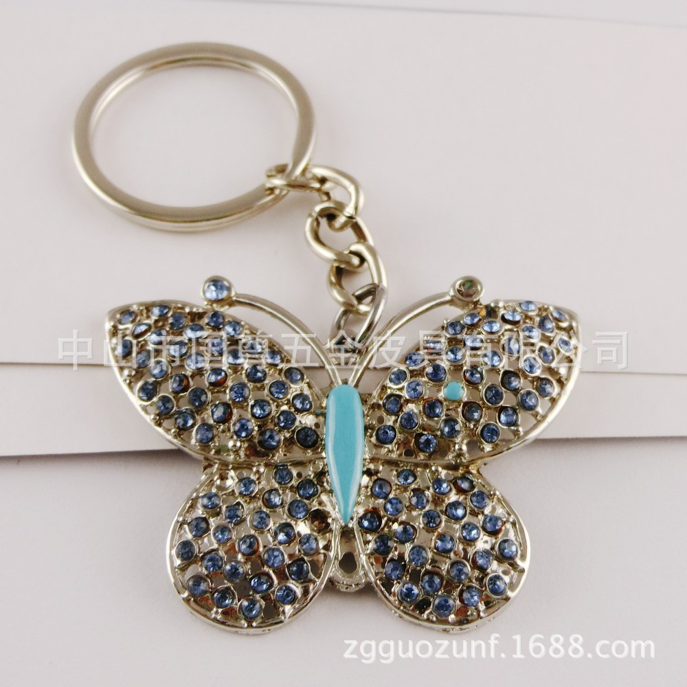韩牌蝶钥匙扣 带钻闪耀 可做促销礼品同汽车挂件