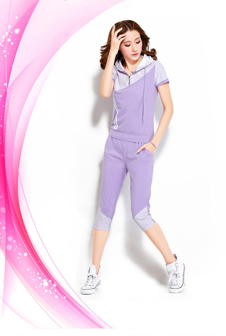 运动 休闲套装 夏季新款女士休闲运动套装时尚韩版大码套装正品质量