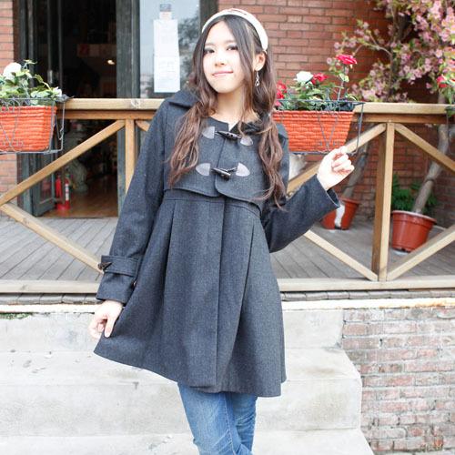 2014达娃新款牛角扣大衣 修身保暖毛呢 中长款呢子女秋冬装风衣