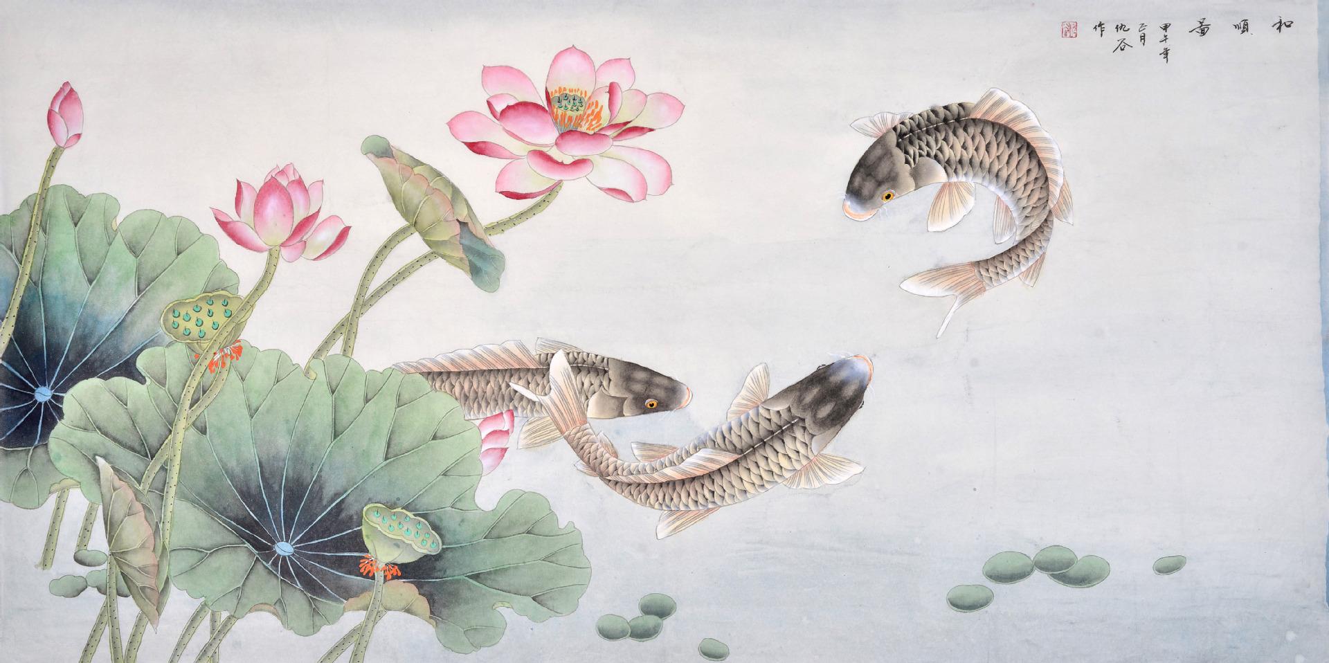 国画荷花横幅作品欣赏