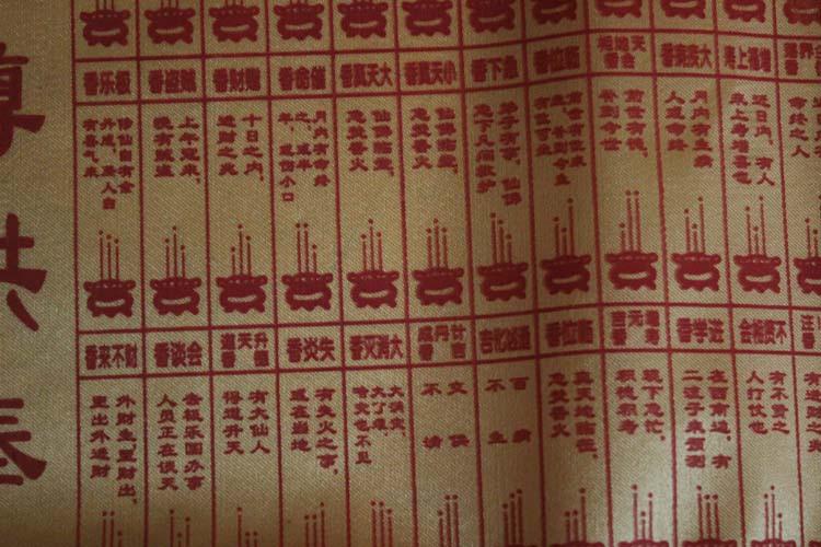 江丽水绸布烧香香谱图 拜佛图解 财神香谱图 仙家香谱 观音四十八香