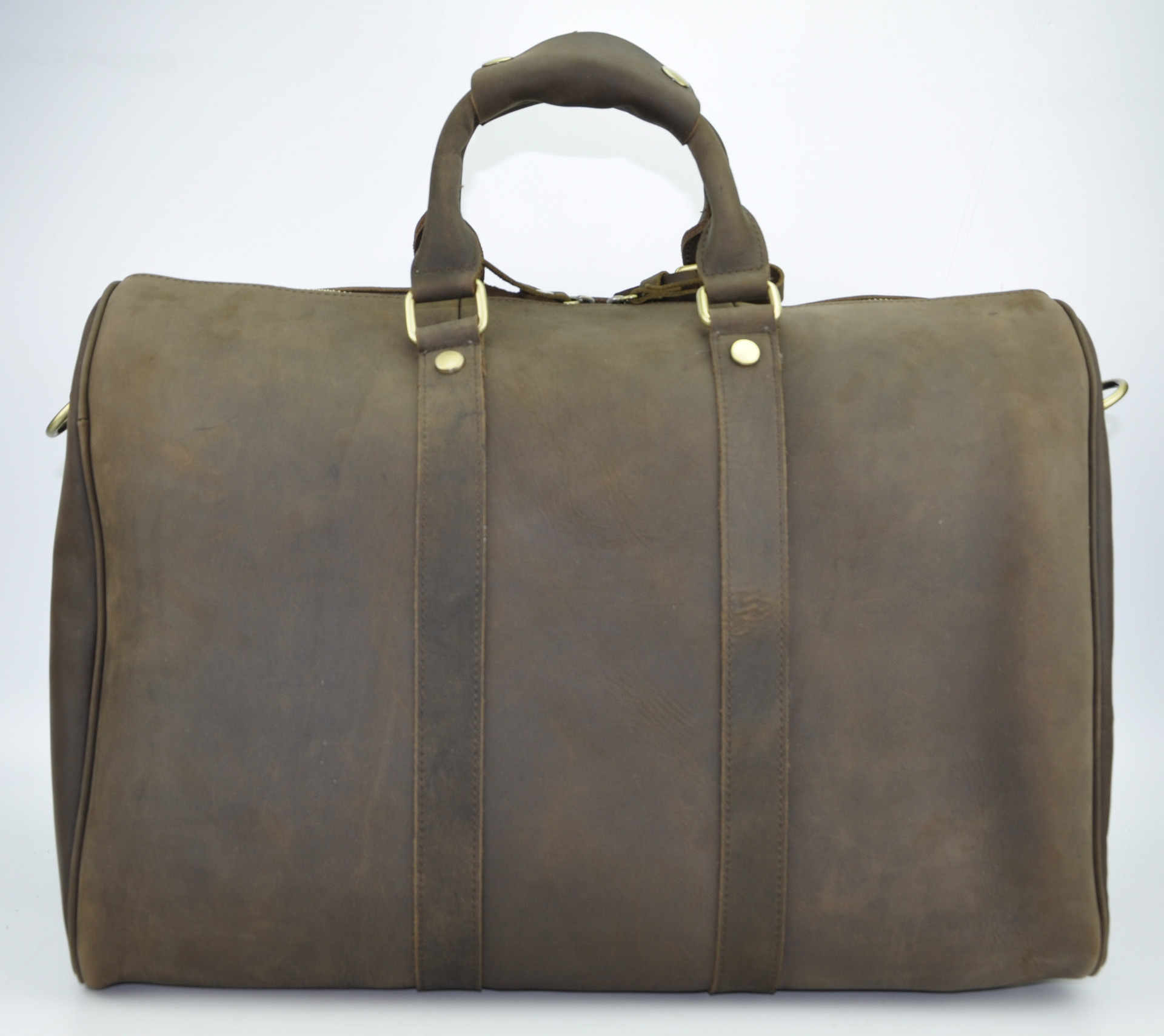 """Gym Bag Briefcase: Men's Genuine Leather Cowhide Large Capacity 17"""" Travel"""