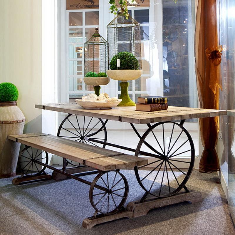 欧式 铁艺复古实木休闲咖啡厅桌椅酒吧